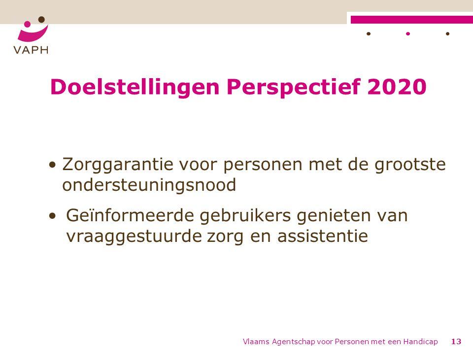 Doelstellingen Perspectief 2020 Zorggarantie voor personen met de grootste ondersteuningsnood Geïnformeerde gebruikers genieten van vraaggestuurde zor