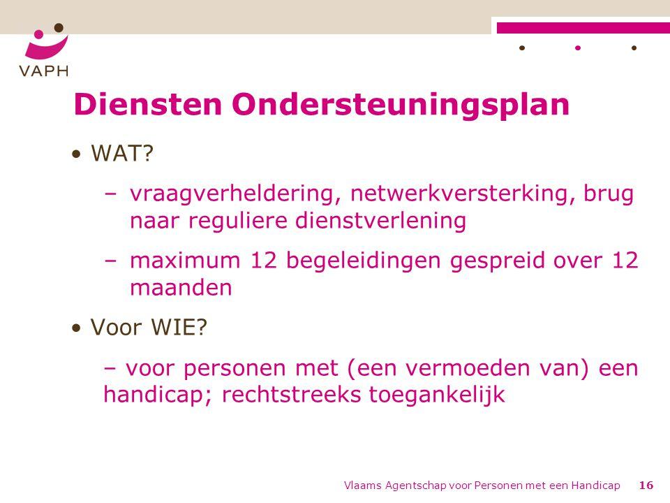 Diensten Ondersteuningsplan WAT? –vraagverheldering, netwerkversterking, brug naar reguliere dienstverlening –maximum 12 begeleidingen gespreid over 1