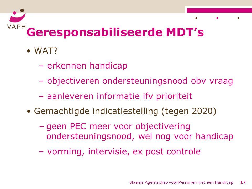 Geresponsabiliseerde MDT's WAT? – erkennen handicap – objectiveren ondersteuningsnood obv vraag – aanleveren informatie ifv prioriteit Gemachtigde ind