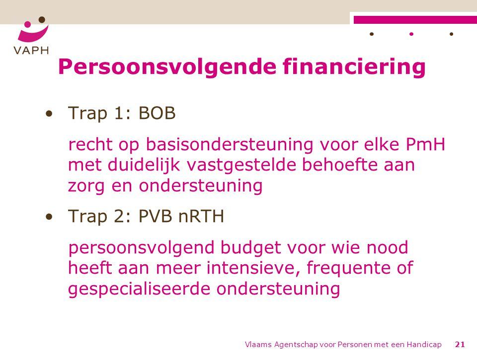 Persoonsvolgende financiering Trap 1: BOB recht op basisondersteuning voor elke PmH met duidelijk vastgestelde behoefte aan zorg en ondersteuning Trap