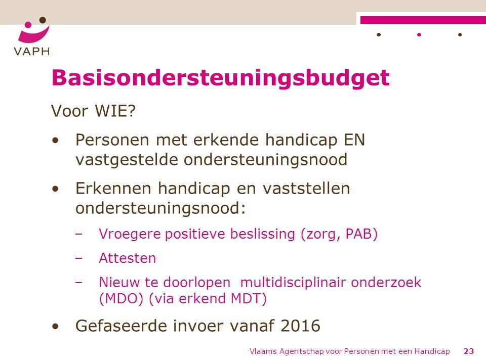 Basisondersteuningsbudget Voor WIE? Personen met erkende handicap EN vastgestelde ondersteuningsnood Erkennen handicap en vaststellen ondersteuningsno
