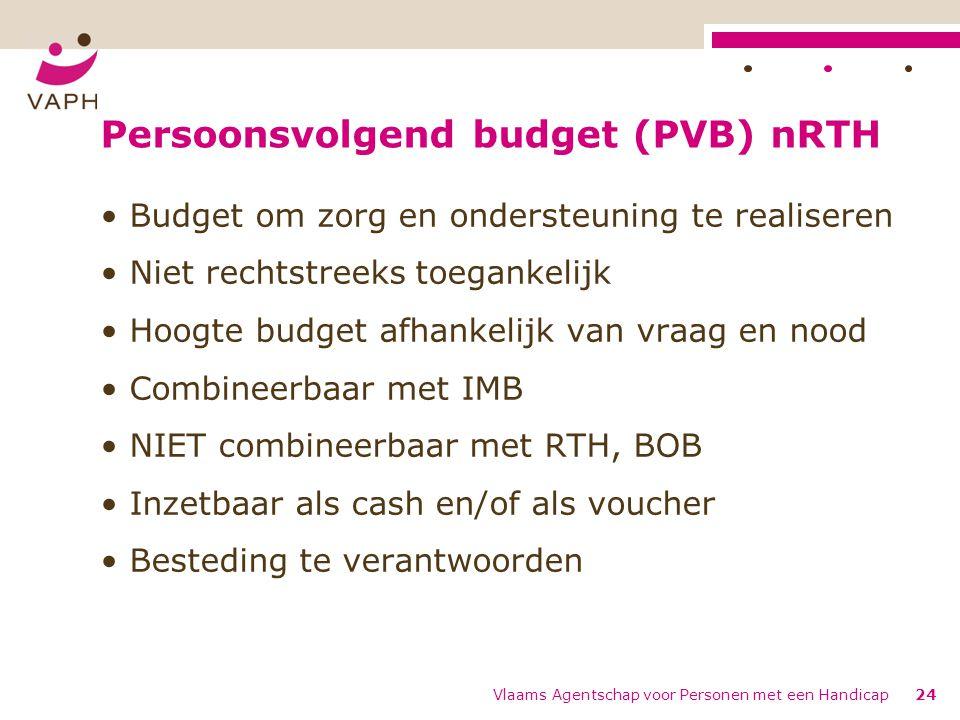 Persoonsvolgend budget (PVB) nRTH Budget om zorg en ondersteuning te realiseren Niet rechtstreeks toegankelijk Hoogte budget afhankelijk van vraag en