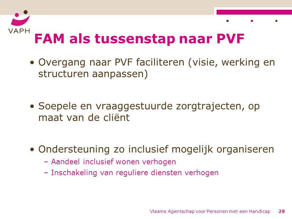 FAM als tussenstap naar PVF Overgang naar PVF faciliteren (visie, werking en structuren aanpassen) Soepele en vraaggestuurde zorgtrajecten, op maat va