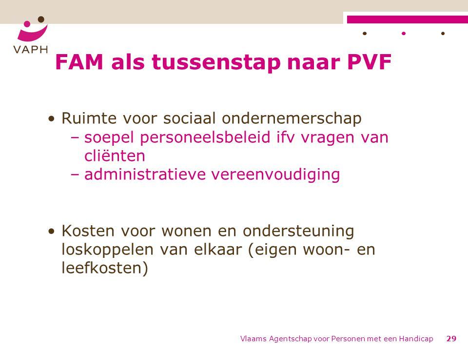 FAM als tussenstap naar PVF Ruimte voor sociaal ondernemerschap –soepel personeelsbeleid ifv vragen van cliënten –administratieve vereenvoudiging Kost