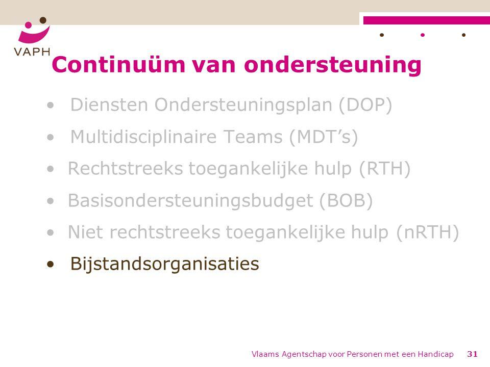 Continuüm van ondersteuning Diensten Ondersteuningsplan (DOP) Multidisciplinaire Teams (MDT's) Rechtstreeks toegankelijke hulp (RTH) Basisondersteunin
