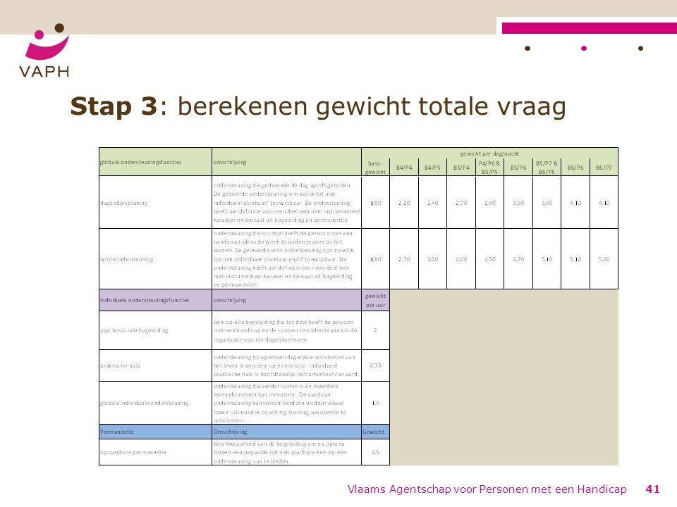 Stap 3: berekenen gewicht totale vraag Vlaams Agentschap voor Personen met een Handicap41