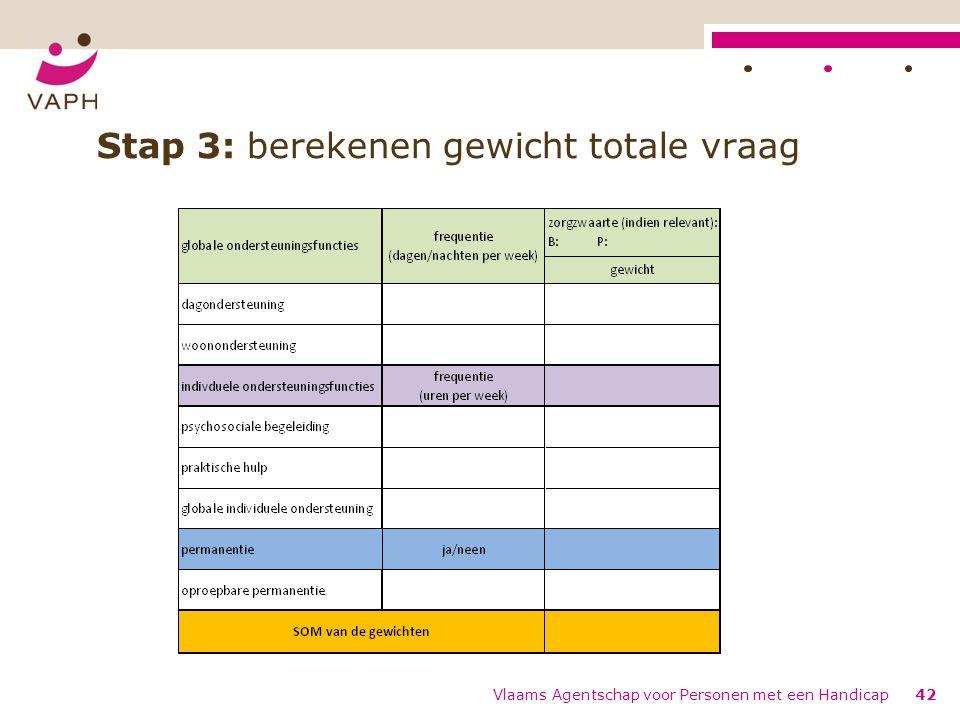 Stap 3: berekenen gewicht totale vraag Vlaams Agentschap voor Personen met een Handicap42