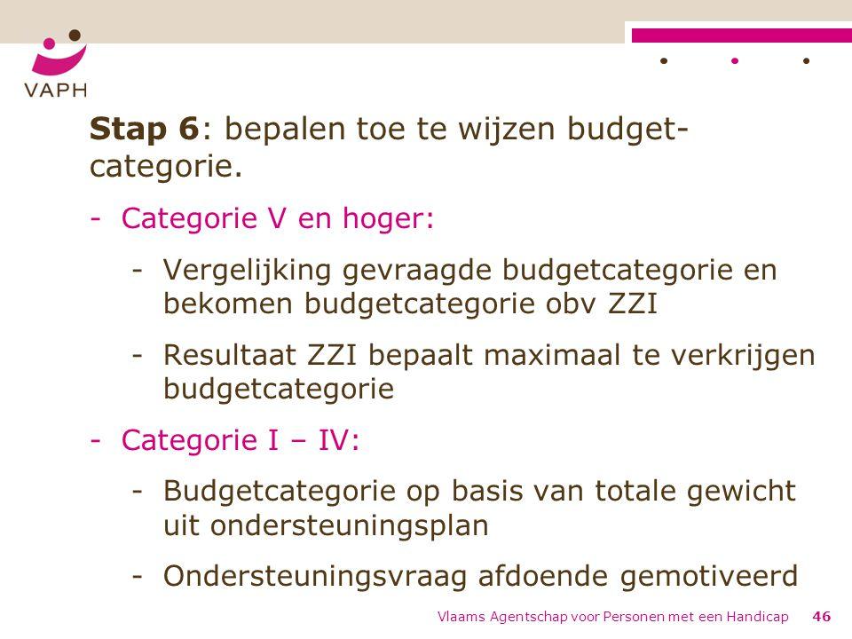 Stap 6: bepalen toe te wijzen budget- categorie. -Categorie V en hoger: -Vergelijking gevraagde budgetcategorie en bekomen budgetcategorie obv ZZI -Re