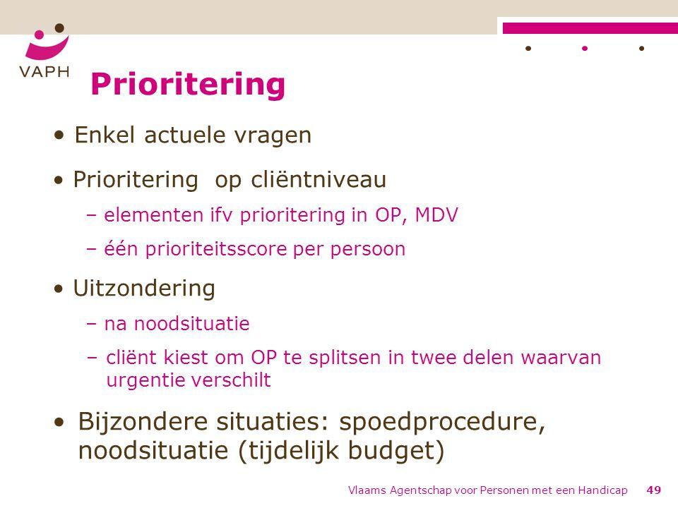 Prioritering Enkel actuele vragen Prioritering op cliëntniveau – elementen ifv prioritering in OP, MDV – één prioriteitsscore per persoon Uitzondering