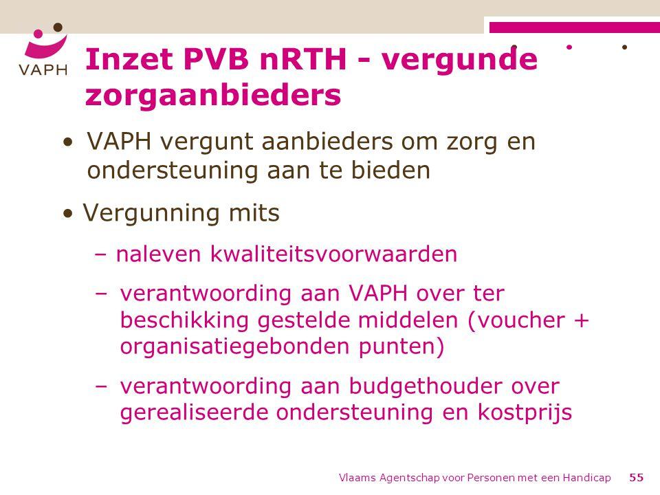 Inzet PVB nRTH - vergunde zorgaanbieders VAPH vergunt aanbieders om zorg en ondersteuning aan te bieden Vergunning mits – naleven kwaliteitsvoorwaarde
