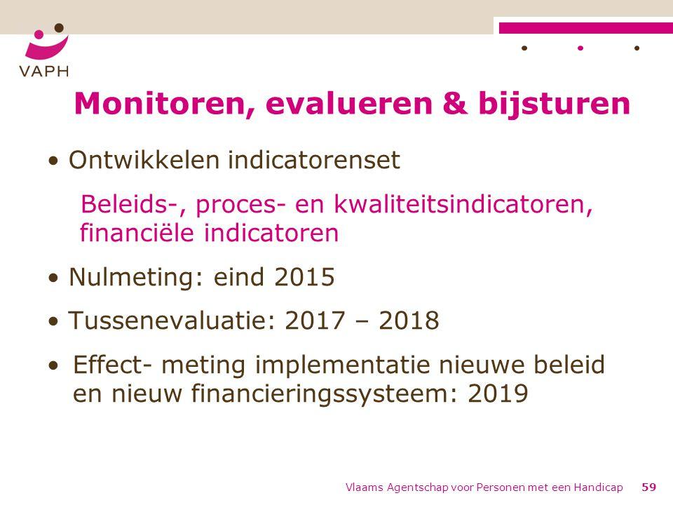 Monitoren, evalueren & bijsturen Ontwikkelen indicatorenset Beleids-, proces- en kwaliteitsindicatoren, financiële indicatoren Nulmeting: eind 2015 Tu