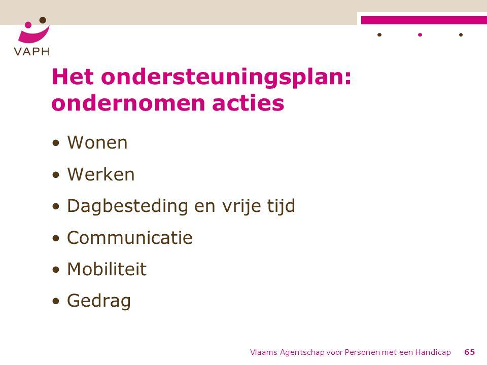 Het ondersteuningsplan: ondernomen acties Wonen Werken Dagbesteding en vrije tijd Communicatie Mobiliteit Gedrag Vlaams Agentschap voor Personen met e
