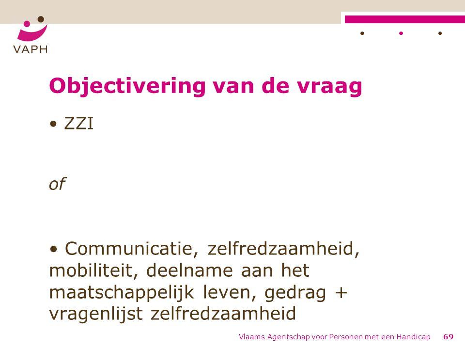 Objectivering van de vraag ZZI of Communicatie, zelfredzaamheid, mobiliteit, deelname aan het maatschappelijk leven, gedrag + vragenlijst zelfredzaamh