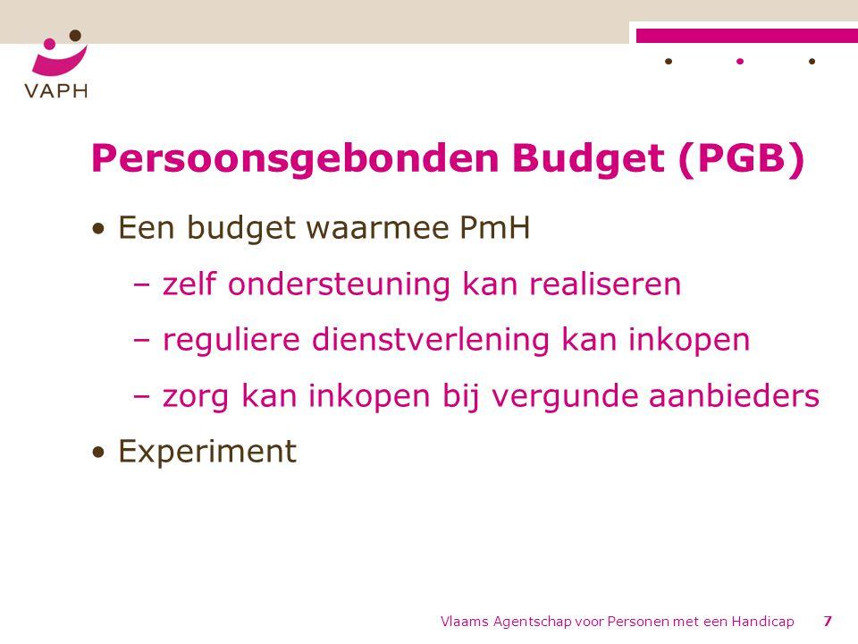 Persoonsgebonden Budget (PGB) Een budget waarmee PmH – zelf ondersteuning kan realiseren – reguliere dienstverlening kan inkopen – zorg kan inkopen bi