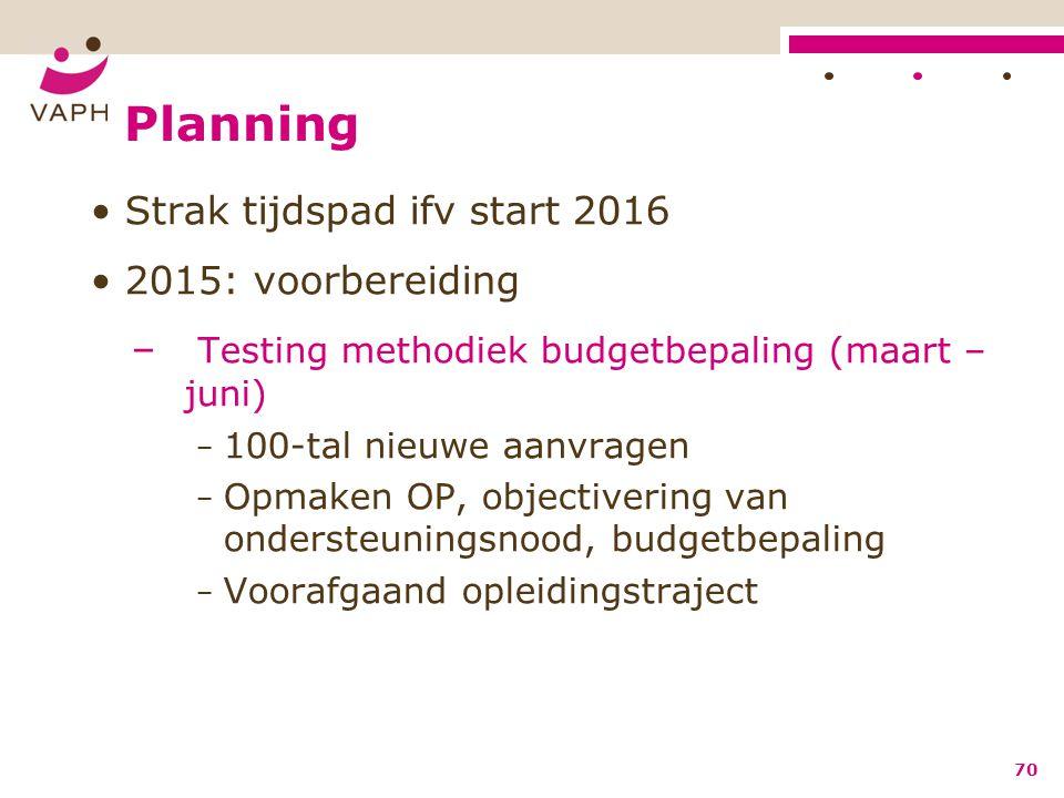Planning Strak tijdspad ifv start 2016 2015: voorbereiding – Testing methodiek budgetbepaling (maart – juni) − 100-tal nieuwe aanvragen − Opmaken OP,