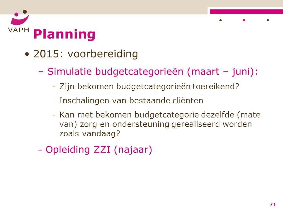 Planning 2015: voorbereiding – Simulatie budgetcategorieën (maart – juni): − Zijn bekomen budgetcategorieën toereikend? − Inschalingen van bestaande c