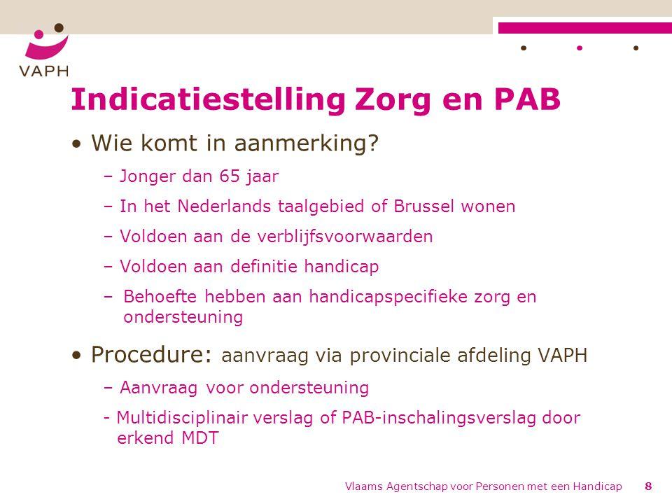 Indicatiestelling Zorg en PAB Wie komt in aanmerking? – Jonger dan 65 jaar – In het Nederlands taalgebied of Brussel wonen – Voldoen aan de verblijfsv