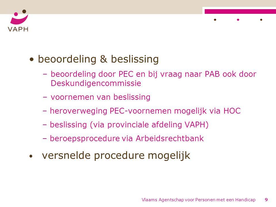 beoordeling & beslissing –beoordeling door PEC en bij vraag naar PAB ook door Deskundigencommissie –voornemen van beslissing – heroverweging PEC-voorn