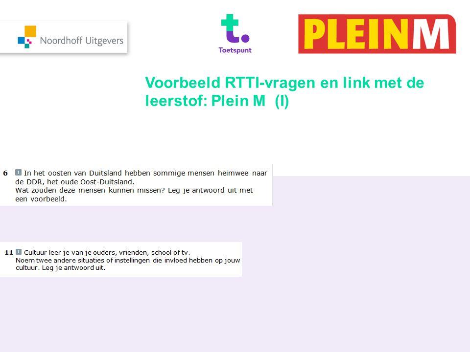Voorbeeld RTTI-vragen en link met de leerstof: Plein M (I)