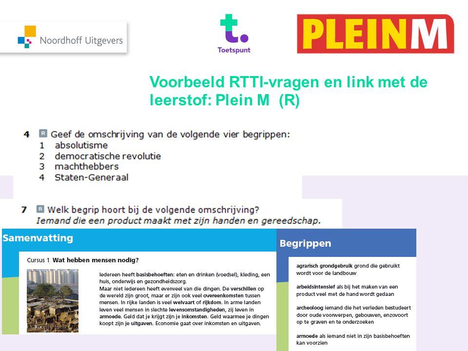 Voorbeeld RTTI-vragen en link met de leerstof: Plein M (R)