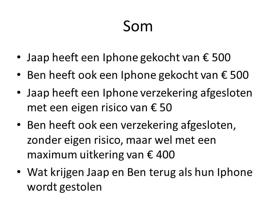 Som Jaap heeft een Iphone gekocht van € 500 Ben heeft ook een Iphone gekocht van € 500 Jaap heeft een Iphone verzekering afgesloten met een eigen risico van € 50 Ben heeft ook een verzekering afgesloten, zonder eigen risico, maar wel met een maximum uitkering van € 400 Wat krijgen Jaap en Ben terug als hun Iphone wordt gestolen