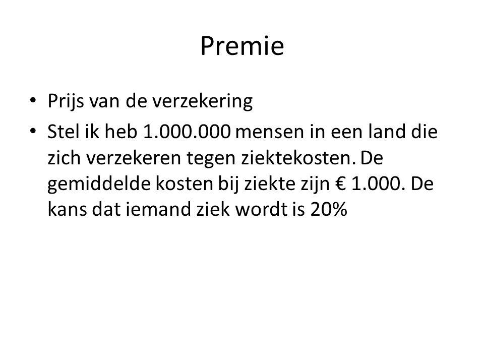 Premie Prijs van de verzekering Stel ik heb 1.000.000 mensen in een land die zich verzekeren tegen ziektekosten. De gemiddelde kosten bij ziekte zijn