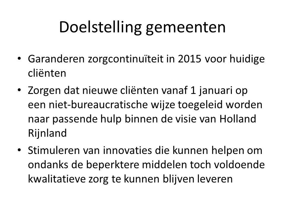 Doelstelling gemeenten Garanderen zorgcontinuïteit in 2015 voor huidige cliënten Zorgen dat nieuwe cliënten vanaf 1 januari op een niet-bureaucratisch