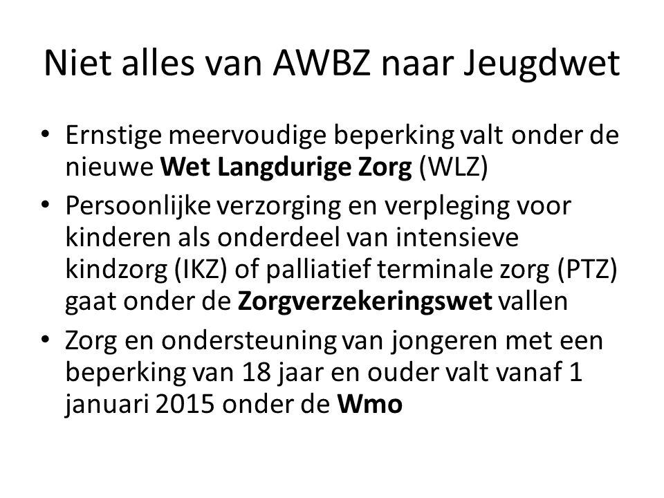 Niet alles van AWBZ naar Jeugdwet Ernstige meervoudige beperking valt onder de nieuwe Wet Langdurige Zorg (WLZ) Persoonlijke verzorging en verpleging