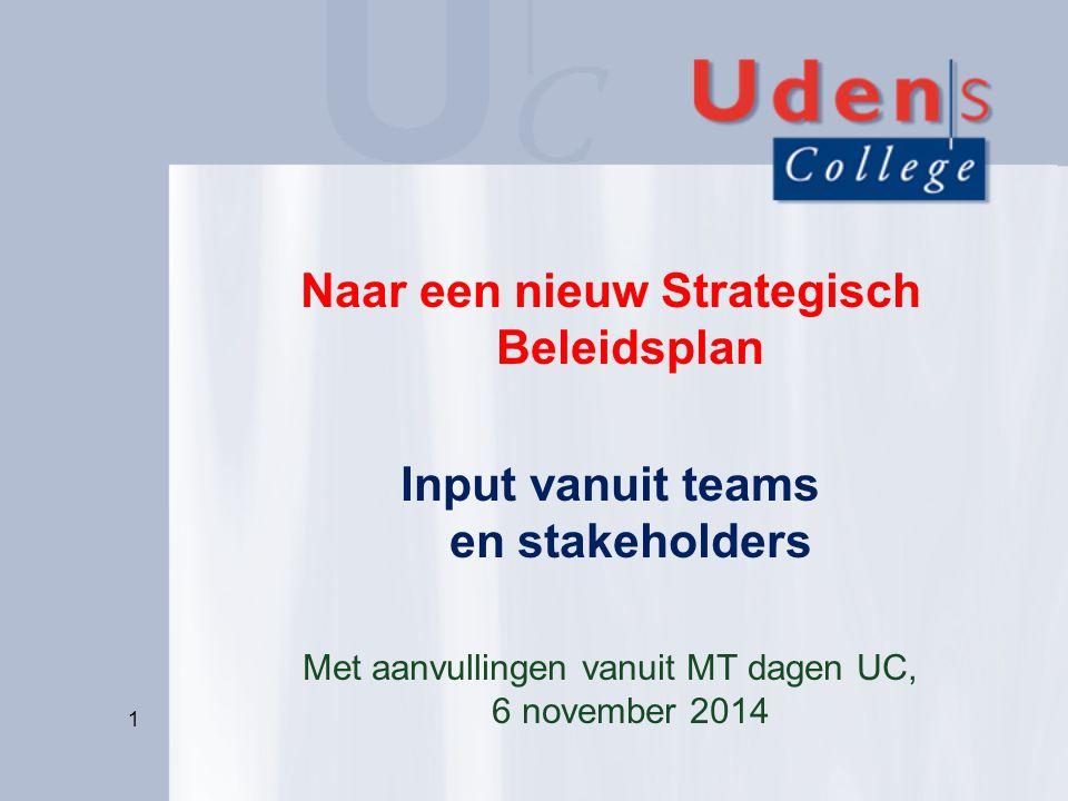 Naar een nieuw Strategisch Beleidsplan Input vanuit teams en stakeholders Met aanvullingen vanuit MT dagen UC, 6 november 2014 1