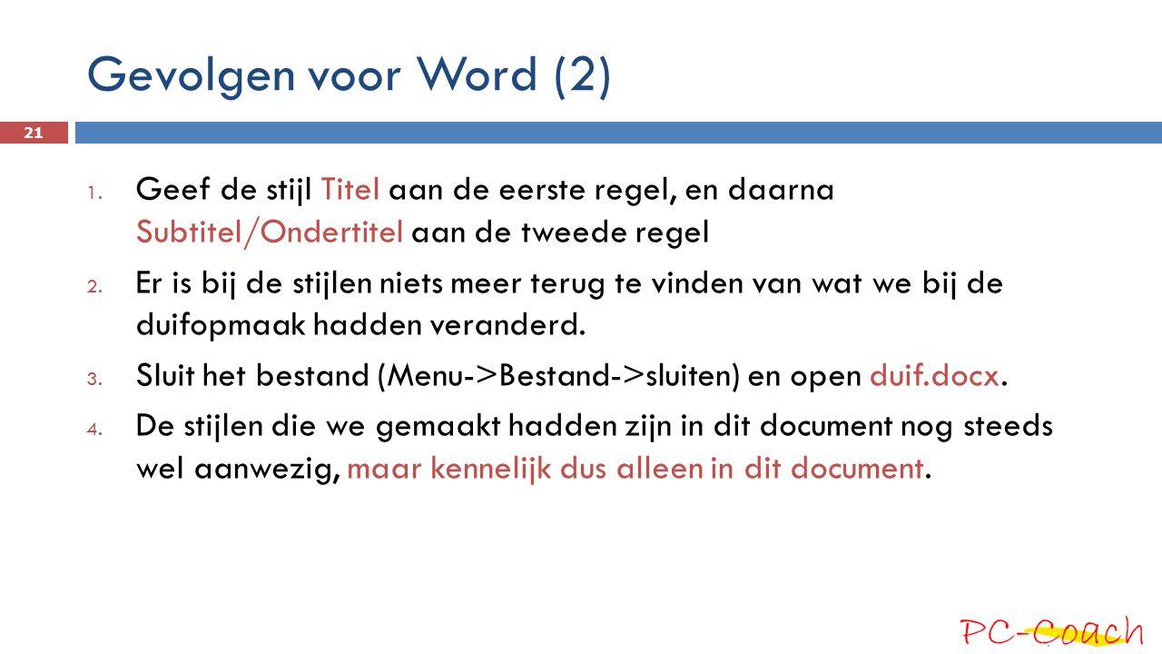 Gevolgen voor Word (2) 1. Geef de stijl Titel aan de eerste regel, en daarna Subtitel/Ondertitel aan de tweede regel 2. Er is bij de stijlen niets mee