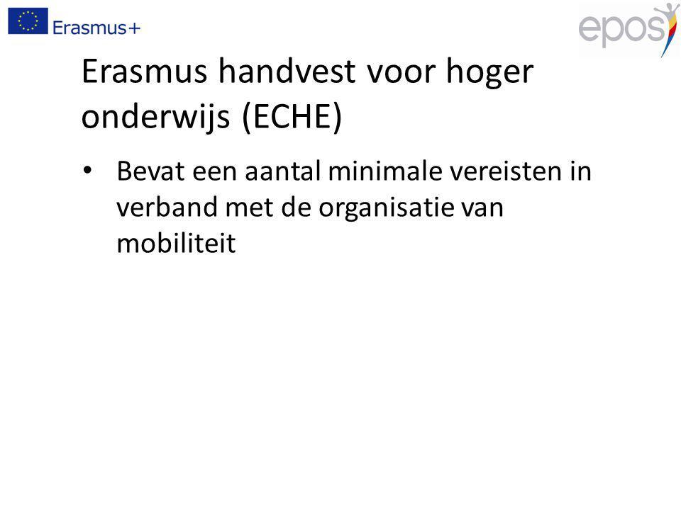 Erasmus handvest voor hoger onderwijs (ECHE) Bevat een aantal minimale vereisten in verband met de organisatie van mobiliteit