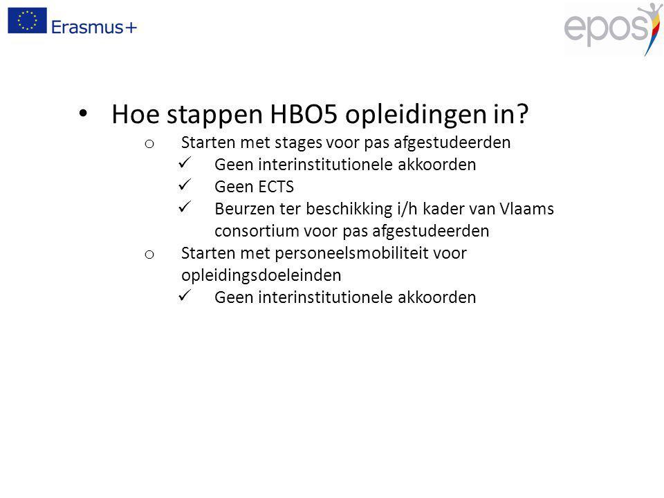Hoe stappen HBO5 opleidingen in? o Starten met stages voor pas afgestudeerden Geen interinstitutionele akkoorden Geen ECTS Beurzen ter beschikking i/h