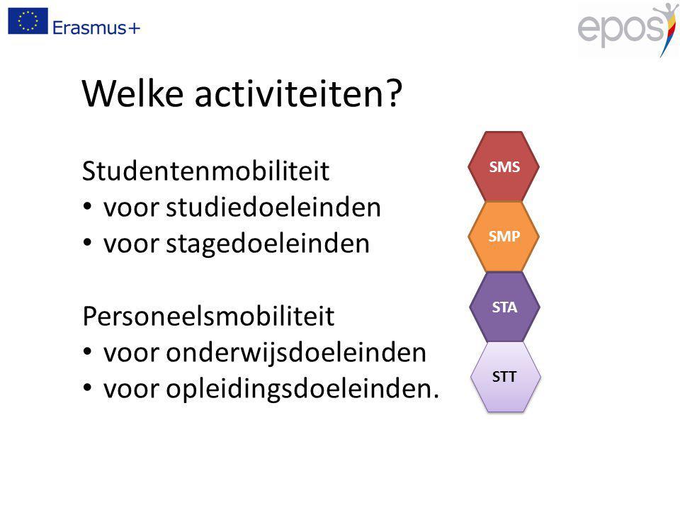 Welke activiteiten? Studentenmobiliteit voor studiedoeleinden voor stagedoeleinden Personeelsmobiliteit voor onderwijsdoeleinden voor opleidingsdoelei