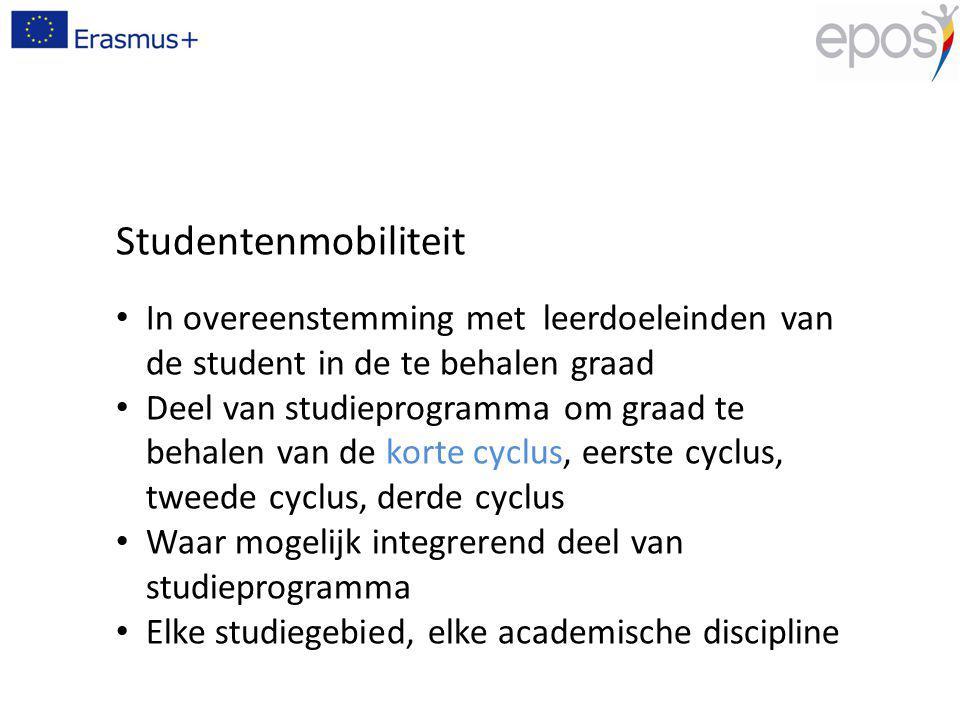 Studentenmobiliteit In overeenstemming met leerdoeleinden van de student in de te behalen graad Deel van studieprogramma om graad te behalen van de ko