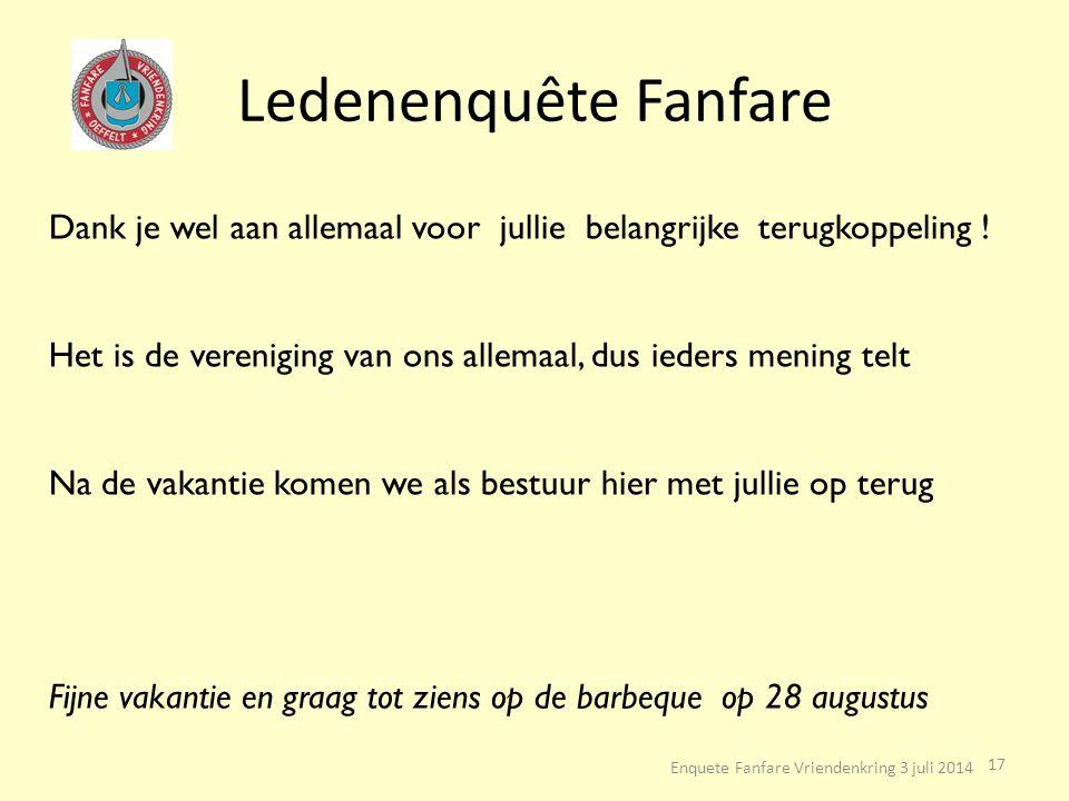 Ledenenquête Fanfare Enquete Fanfare Vriendenkring 3 juli 2014 17 Dank je wel aan allemaal voor jullie belangrijke terugkoppeling ! Het is de verenigi
