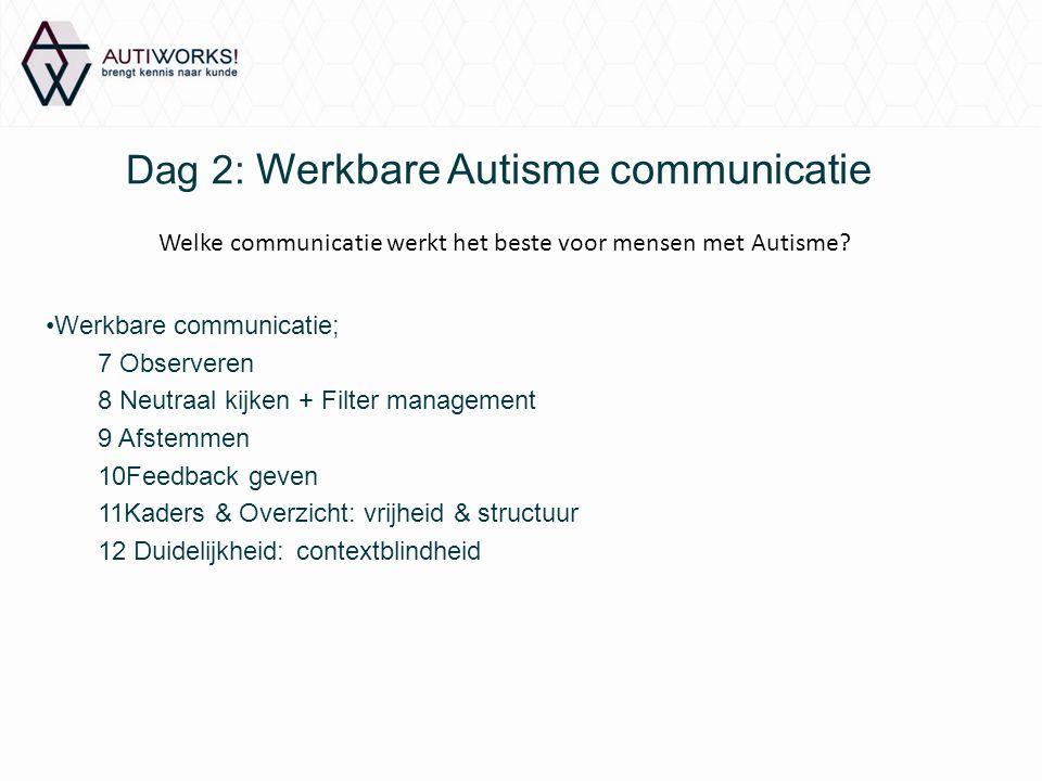 Dag 2: Werkbare Autisme communicatie Werkbare communicatie; 7 Observeren 8 Neutraal kijken + Filter management 9 Afstemmen 10Feedback geven 11Kaders &