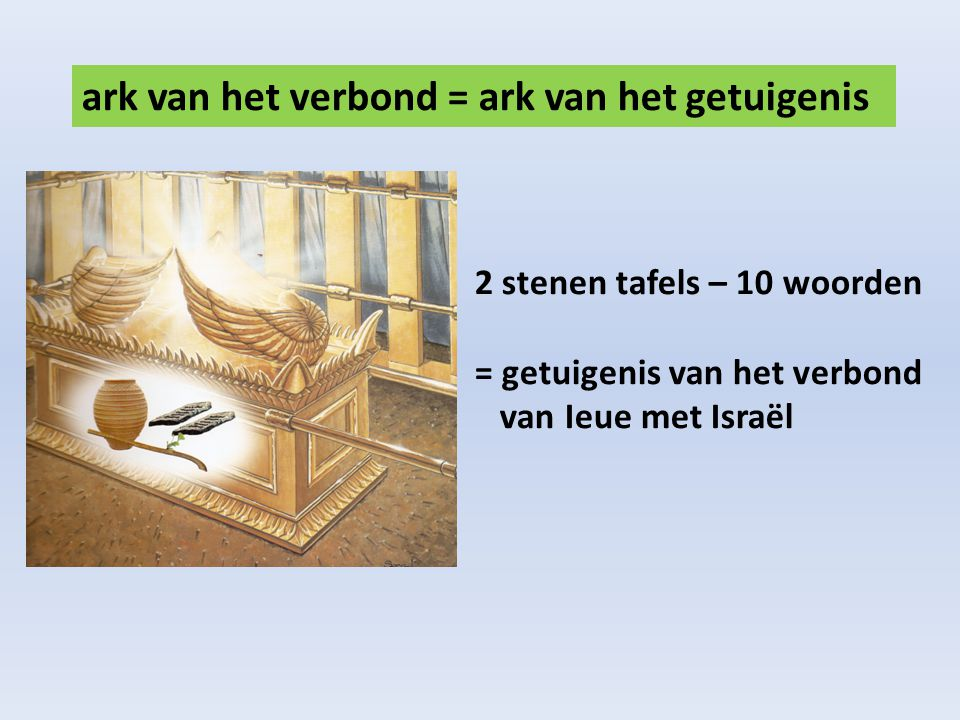 ark van het verbond = ark van het getuigenis 2 stenen tafels – 10 woorden = getuigenis van het verbond van Ieue met Israël