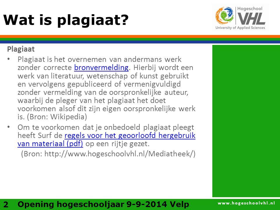 www.hogeschoolvhl.nl Wat is plagiaat.