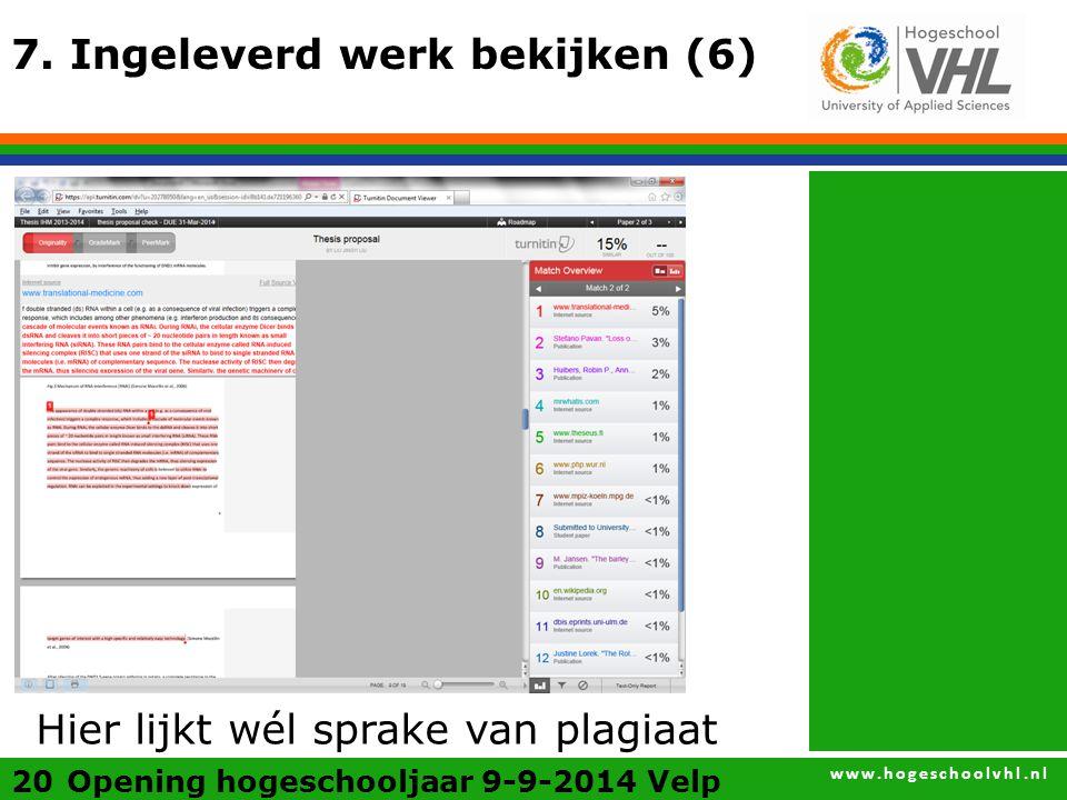 www.hogeschoolvhl.nl 20 7.