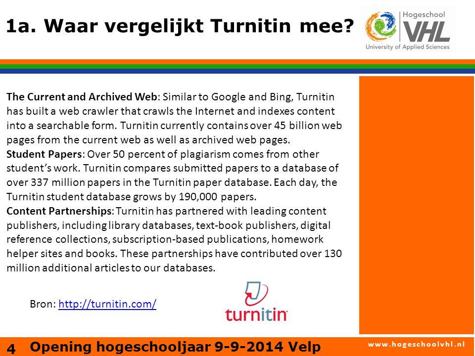 www.hogeschoolvhl.nl 2.Wat kun je met Turnitin.