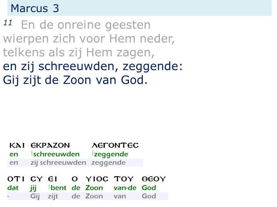 Marcus 3 11 En de onreine geesten wierpen zich voor Hem neder, telkens als zij Hem zagen, en zij schreeuwden, zeggende: Gij zijt de Zoon van God.