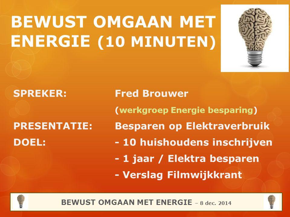 BEWUST OMGAAN MET ENERGIE (10 MINUTEN) SPREKER:Fred Brouwer (werkgroep Energie besparing) PRESENTATIE:Besparen op Elektraverbruik DOEL:- 10 huishouden