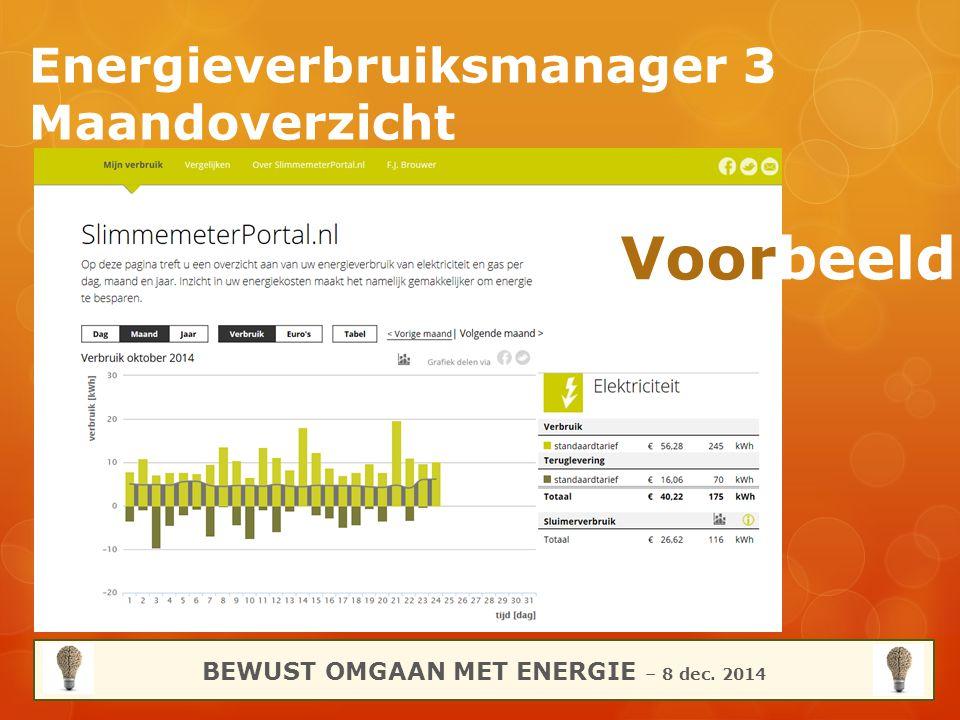 Energieverbruiksmanager 3 Maandoverzicht BEWUST OMGAAN MET ENERGIE – 8 dec. 2014 Voorbeeld