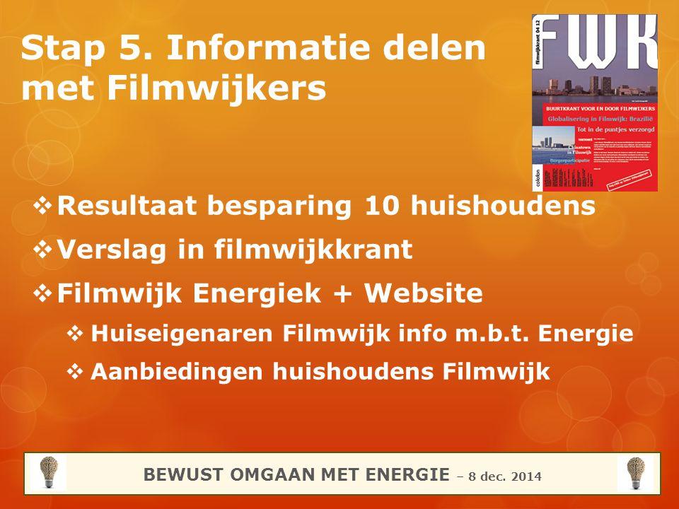 Stap 5. Informatie delen met Filmwijkers BEWUST OMGAAN MET ENERGIE – 8 dec. 2014  Resultaat besparing 10 huishoudens  Verslag in filmwijkkrant  Fil