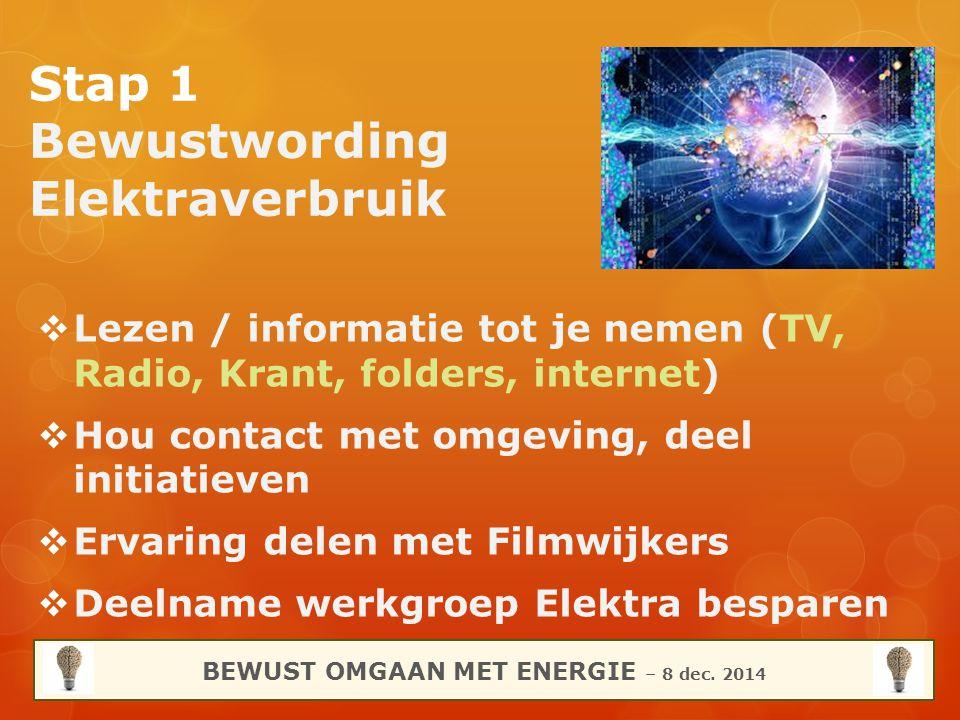 Stap 1 Bewustwording Elektraverbruik  Lezen / informatie tot je nemen (TV, Radio, Krant, folders, internet)  Hou contact met omgeving, deel initiati