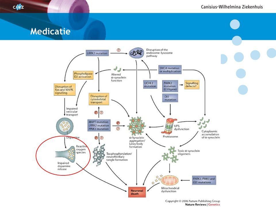 Welke medicijnen Dopaminerge medicijnen –Levodopa –Dopamine receptor agonisten Anticholinergica Remming dopamine afbraak –COMT remmer –MAO-B remmer Amantadine