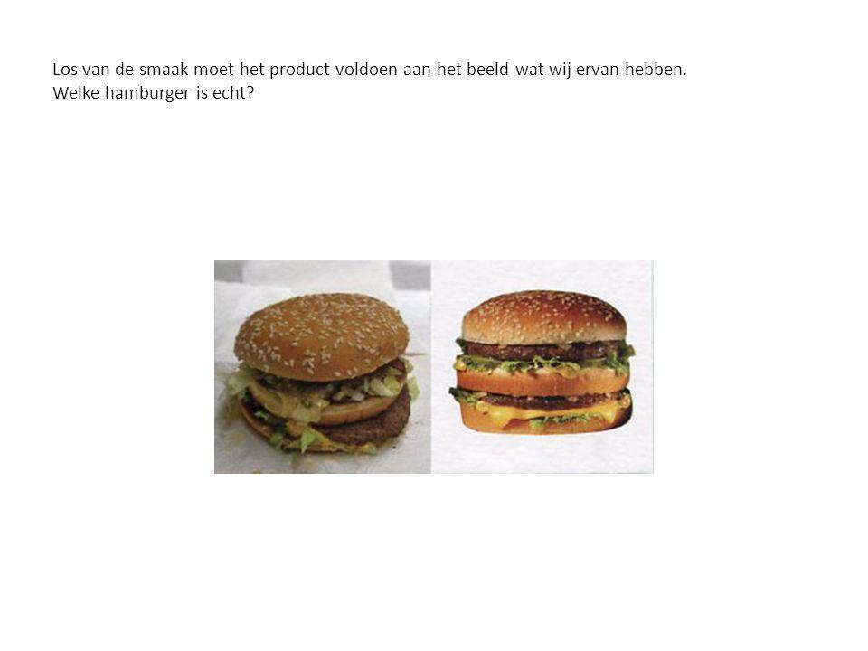 Los van de smaak moet het product voldoen aan het beeld wat wij ervan hebben. Welke hamburger is echt?