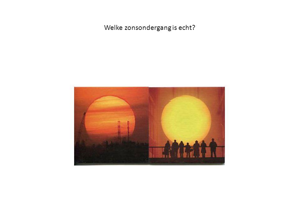 De linker is de echte zonsondergang De rechter is een kunst installatie van Olarfur Eliassen in de Tate gallery