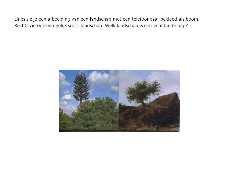 Links zie je een afbeelding van een landschap met een telefoonpaal bekleed als boom. Rechts zie ook een gelijk soort landschap. Welk landschap is een