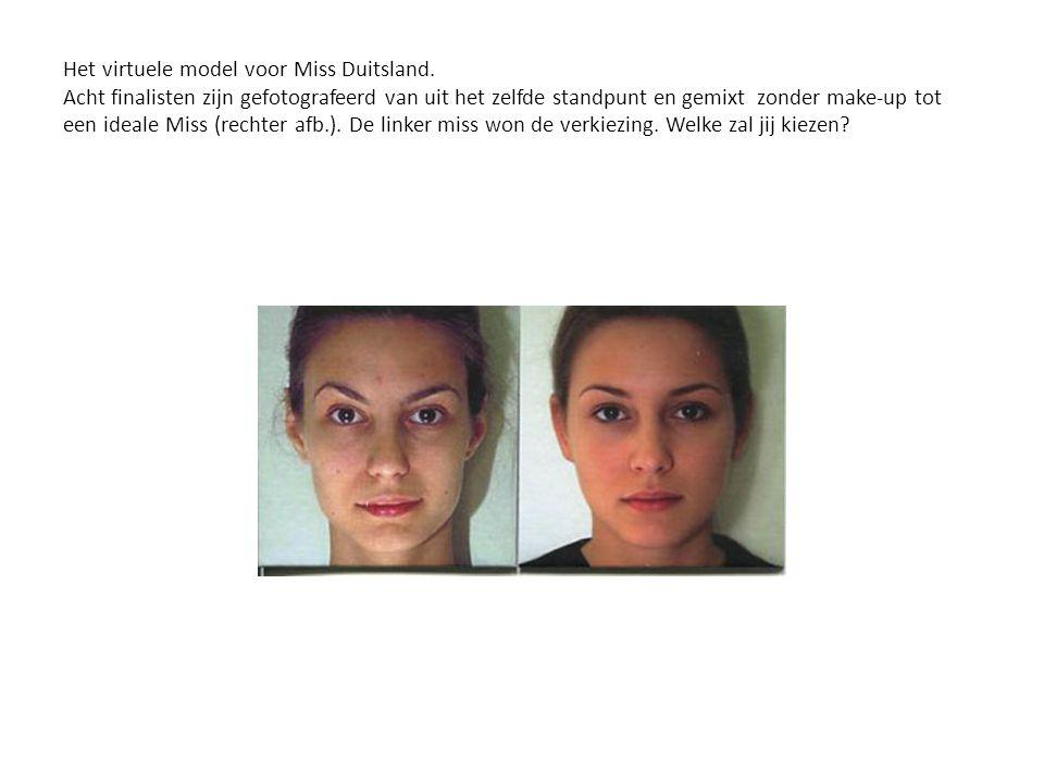 Het virtuele model voor Miss Duitsland. Acht finalisten zijn gefotografeerd van uit het zelfde standpunt en gemixt zonder make-up tot een ideale Miss